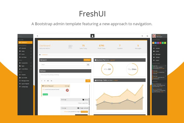 Thumbnail for FreshUI - Bootstrap Admin Template