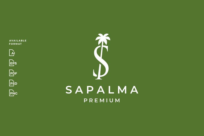 S Letter Palm Tree Logo