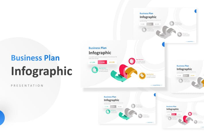 Thumbnail for 3D Arrows Unique Pie Chart Infographic Template