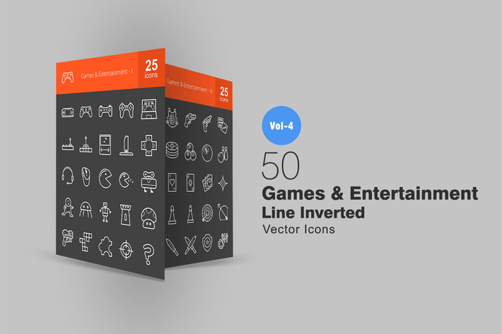 Thumbnail for 50 Games & Entertainment Line Inverted Icons