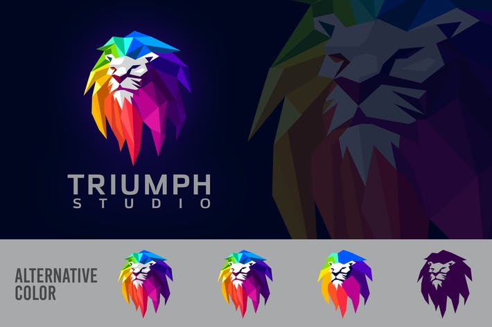 Thumbnail for Low Poly Geometric Colorful Lion Mascot Logo