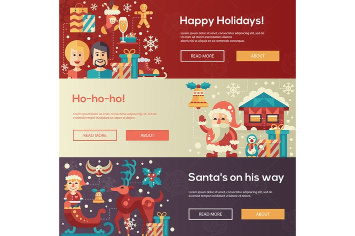 Thumbnail for Christmas flat design website banners illustration