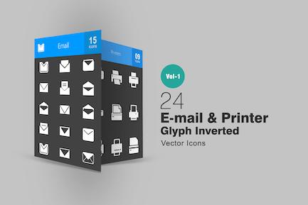 24 Íconos invertidos de glifo de Correo electrónico e impresora
