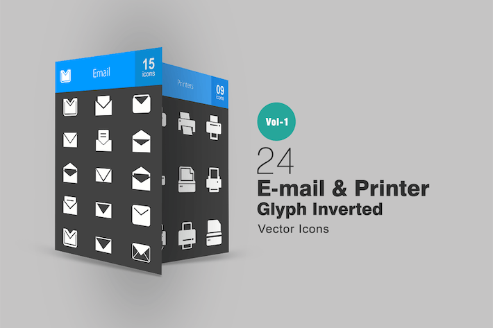 Thumbnail for 24 Email & Printer Glyph Inverted Icons