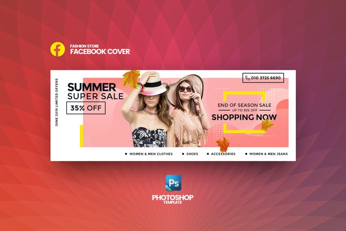 Thumbnail for Super Sale Fashion Store Facebook Cover Template