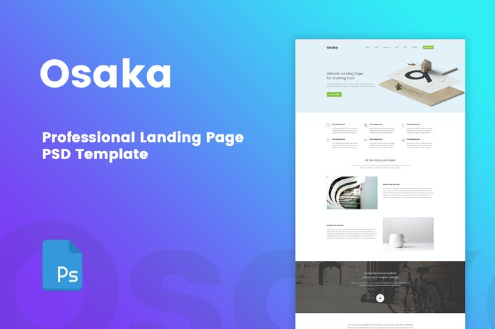 Thumbnail for Osaka - Professional Landing Page PSD Template