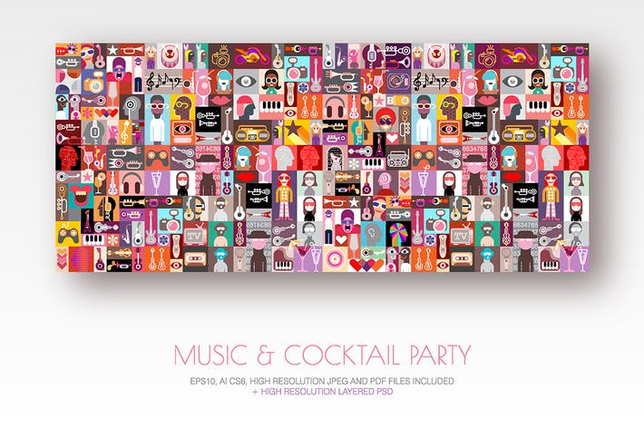 Thumbnail for Music & Cocktail Party pop art vector illustration