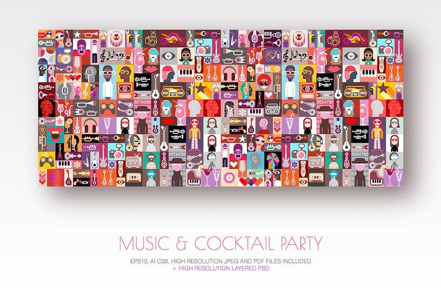 Music & Cocktail Party pop art vector illustration