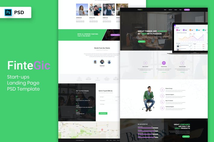 Thumbnail for Start-ups Landing Page PSD Template-03
