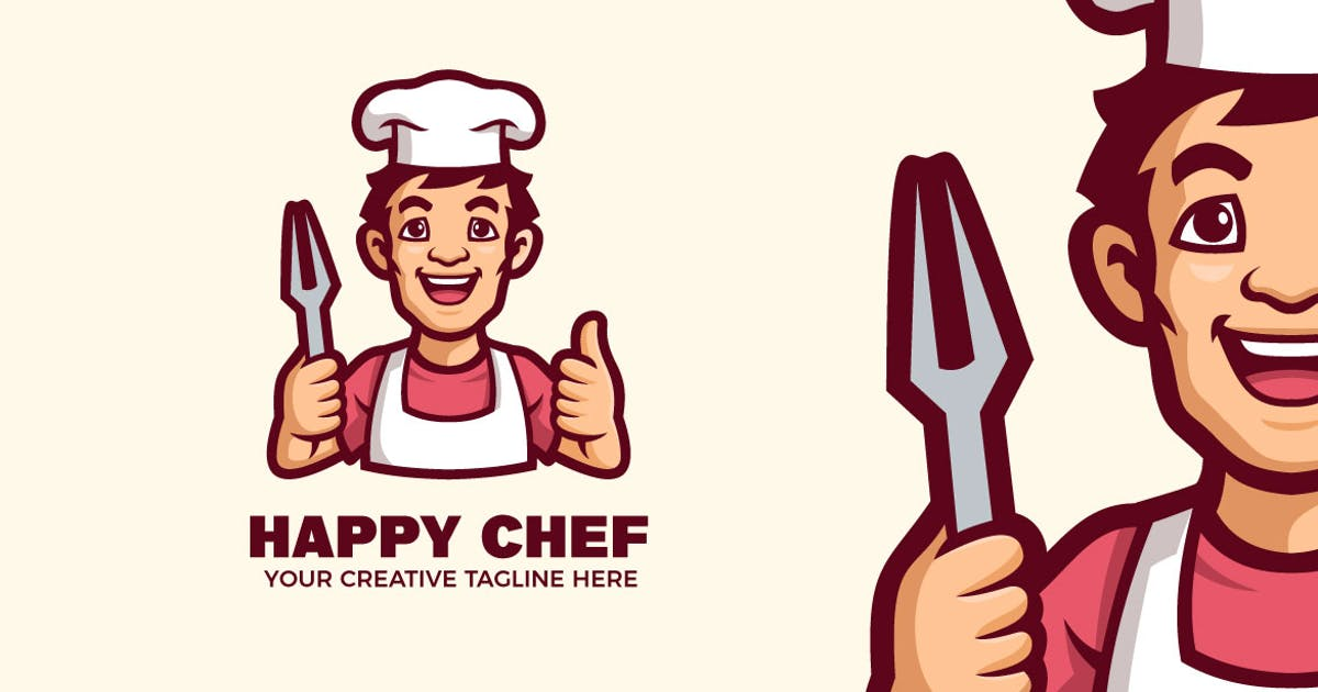 Download Happy Chef Mascot Character Logo Template by MightyFire_STD
