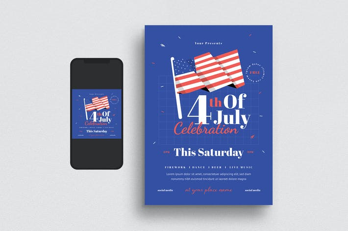 Thumbnail for 4th of July Celebration Flyer Set