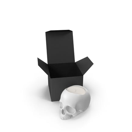 White Skull Head Candle with Box