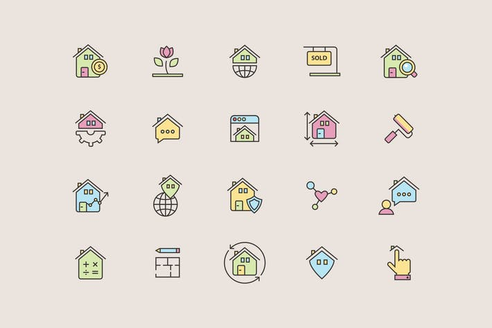 Thumbnail for Real Estate Color Icons