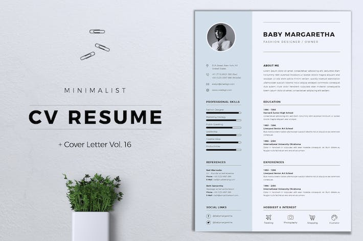 Cover Image For Minimalist CV Resume Vol. 16