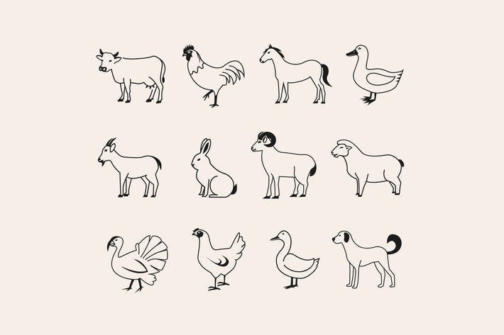 Thumbnail for 24 Farm Animal Icons