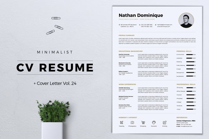 Thumbnail for Minimalist CV Resume Vol. 24