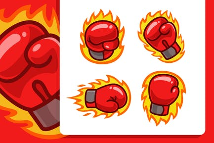 Burning Boxing Gloves Cartoon set
