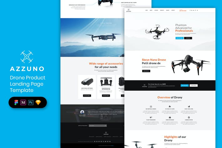 Thumbnail for Drone - Product Landing Page Template