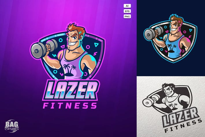 Thumbnail for Muscle Fitness Guy Cartoon Mascot Logo