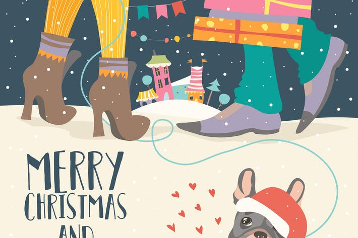 Thumbnail for Couple of love celebrating Christmas. Vector
