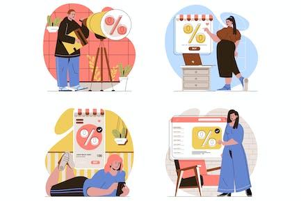 Discount Sale Flat Line Illustrations Set