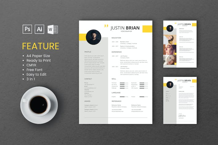 Thumbnail for Professional CV And Resume Template Justin