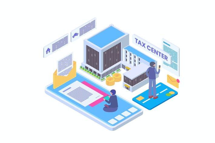 Thumbnail for Online Tax Center Isometric Vector