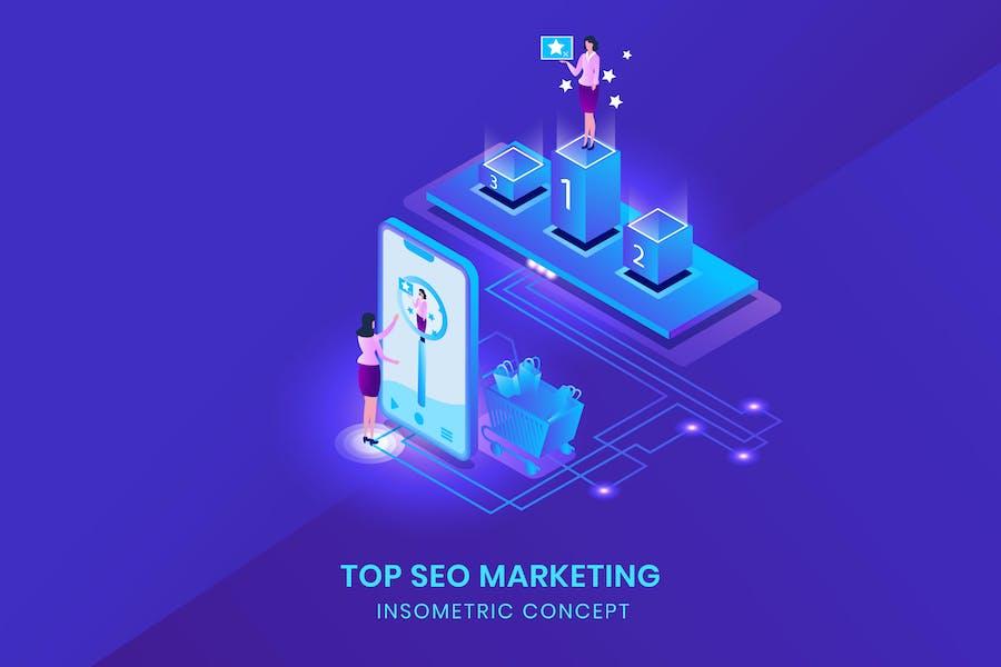 Top Seo Marketing - Isometric Vector