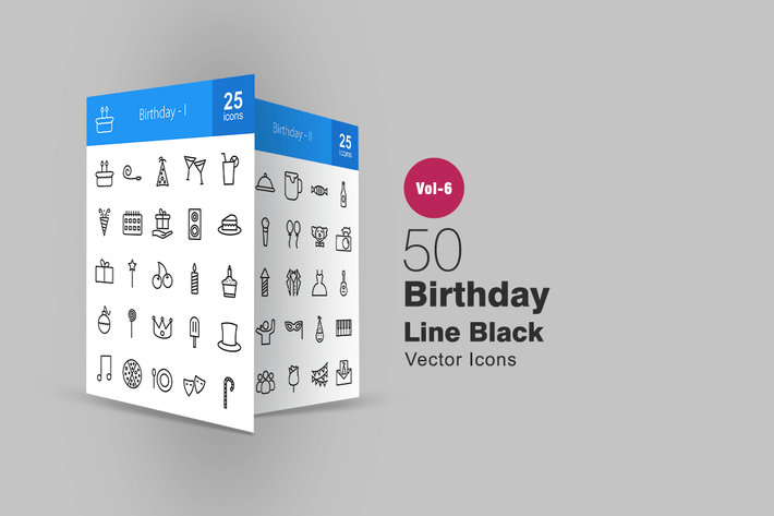 Thumbnail for 50 Birthday Line Icons