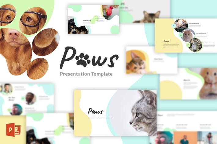 Thumbnail for Paws - Animal, Pet PowerPoint Template