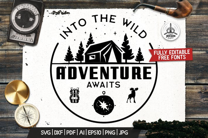 Retro Camp T-Shirt Design, Logo Adventure Quote