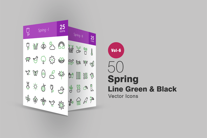 Thumbnail for 50 Spring Green & Black Line Icons