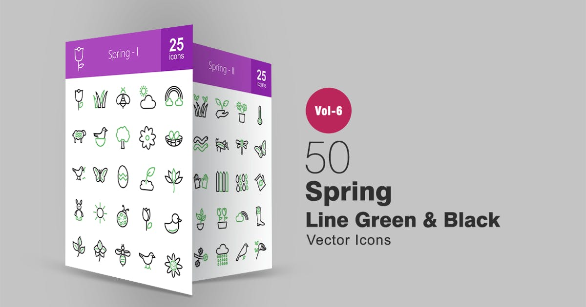 Download 50 Spring Green & Black Line Icons by IconBunny