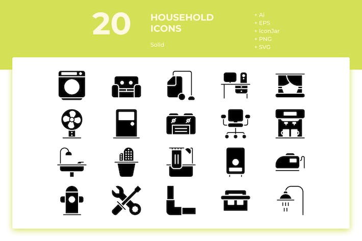 Thumbnail for 20 Household Icons (Solid)