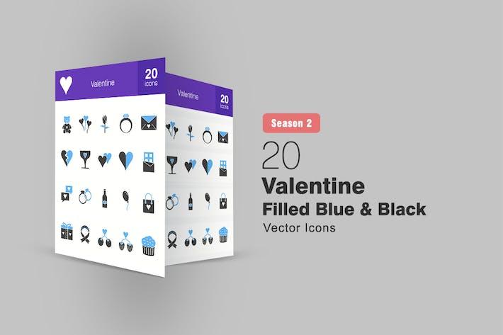 Thumbnail for 20 Valentine Filled Blue & Black Icons Season II