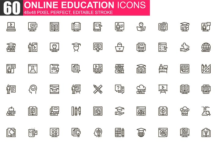 Thumbnail for Online Education Thin Line Icons Pack