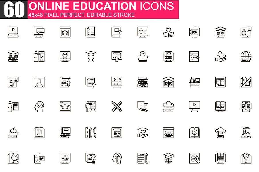 Online Education Thin Line Icons Pack