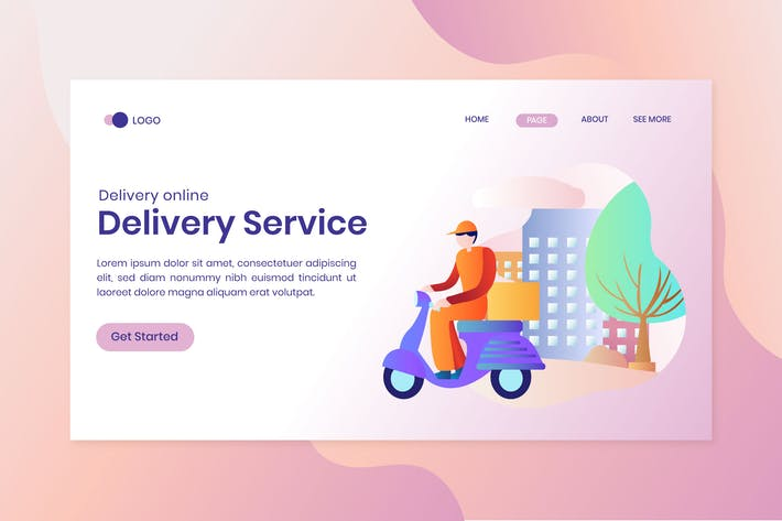 Thumbnail for Delivery Service Concept Landing Page