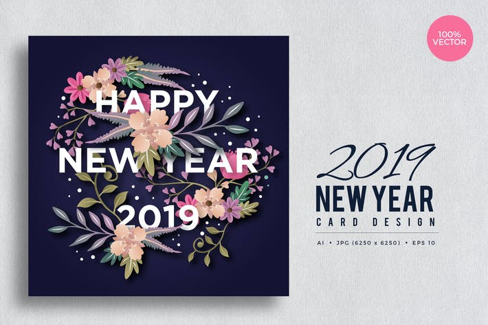 Thumbnail for Happy New Year 2019 Floral Vector Card Vol.5