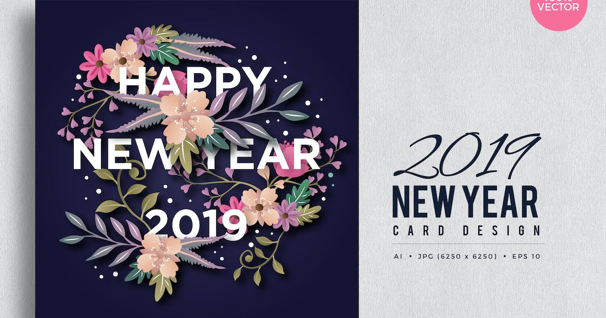 Download Happy New Year 2019 Floral Vector Card Vol.5 by naulicrea