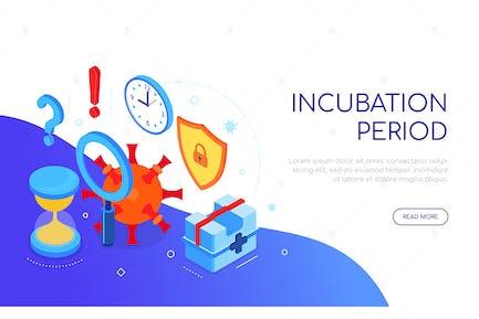 Coronavirus incubation period - isometric banner