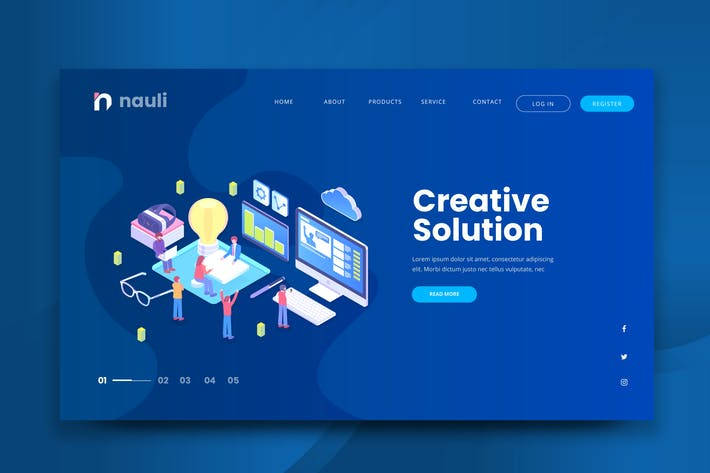 Thumbnail for Isometric Creative Solution Web PSD and AI Vector