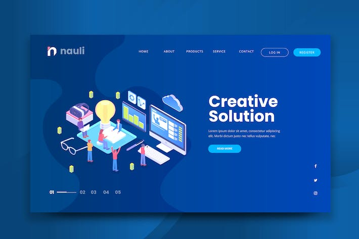 Thumbnail for Isometric Creative Solution Web PSD und AI Vektor
