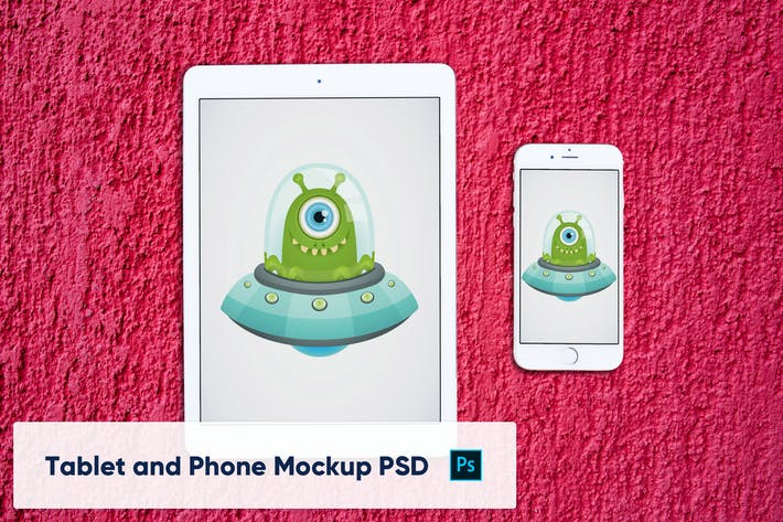 Thumbnail for Phone and Tablet on Red Background - Mockup PSD