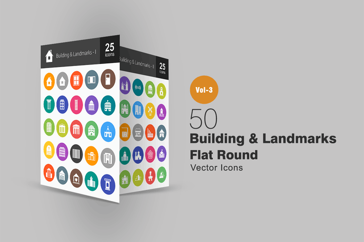 Thumbnail for 50 Buildings & Landmarks Flat Round Icons