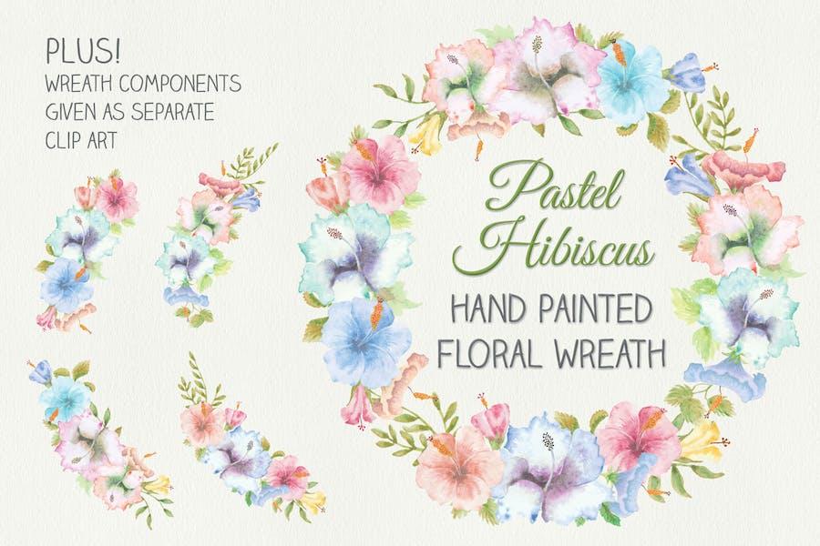 Wreath of Pastel Hibiscus Flowers