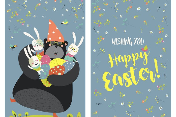 Greeting card with bunnies,bear and easter eggs