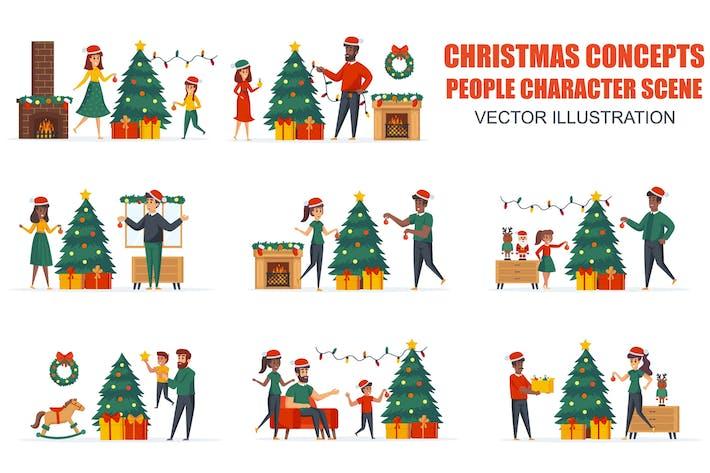 Thumbnail for Рождественская елка украшения людей персонаж сцены