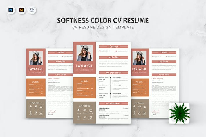 Thumbnail for Softness Color CV Resume