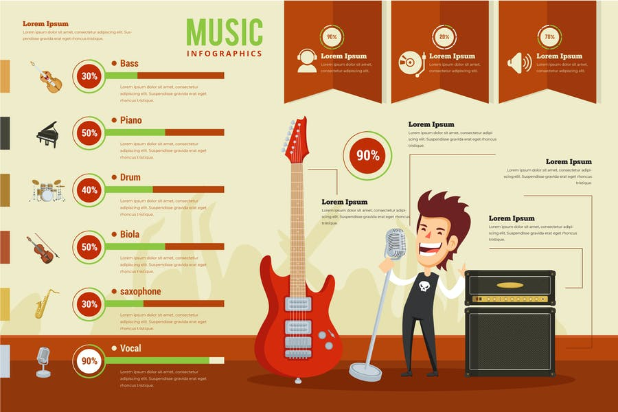 Music Infographic PSD and AI Vector Template